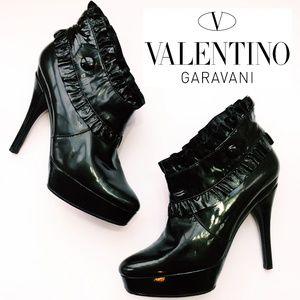Valentino Patent Leather Ruffle Stiletto Bootie